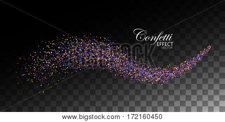 Glittering multicolored stream of confetti. Abstract vector illustration of confetti glitter stream isolated on checkered transparent background. Light glowing burst effect