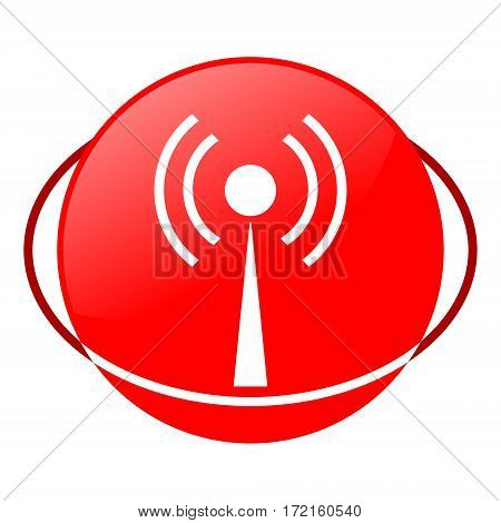 Red icon, antenna vector illustration on white background