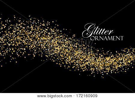Glittering golden stream of paillettes. Abstract vector illustration of golden glitter stream. Holiday confetti particles. Light glowing burst effect