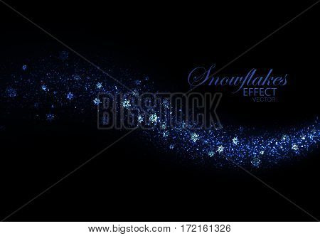 Glittering frosty stream of snowflakes. Abstract winter vector illustration of snowy glitter stream. Holiday glitters and snowflakes particles. Light glowing burst effect