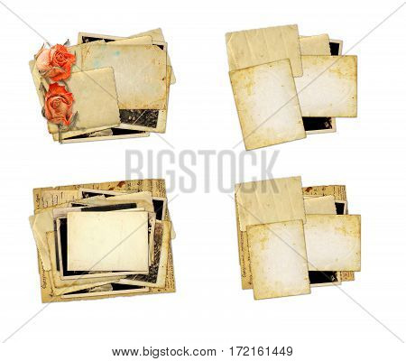 Pile Of Old Photos And Letters With Bouquet Of Dried Roses On Wh
