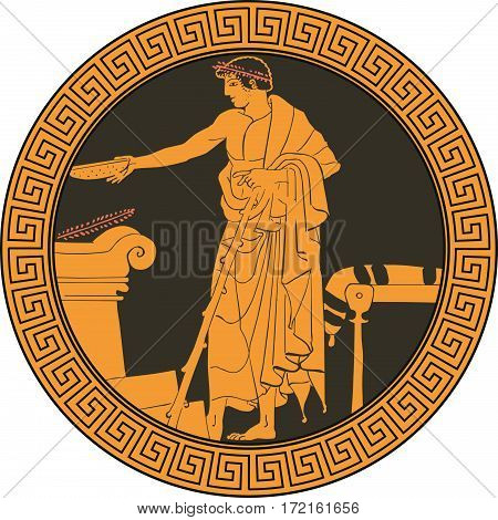 Dish in the Greek style on the plate. Vector illustration