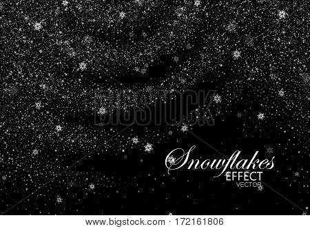 Winter snowy background. Vector Christmas illustration of snowflakes and sparkles. Snowflakes ripples and sparkling particles. Holiday decoration element for design