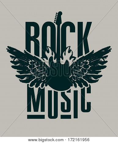 banner for rock music with electric guitar with wings on fire