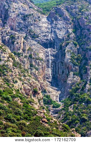 Scenic view of waterfall on Mount Athos, Greece