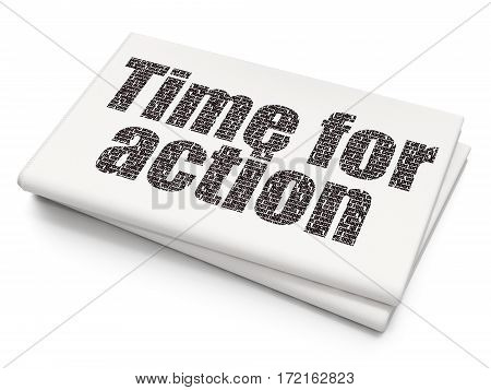 Time concept: Pixelated black text Time for Action on Blank Newspaper background, 3D rendering