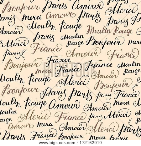 Seamless pattern with hand drawn inscriptions French word