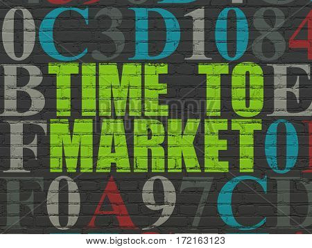 Timeline concept: Painted green text Time to Market on Black Brick wall background with Hexadecimal Code
