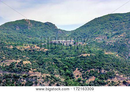 Scenic view of Xeropotamou monastery on Mount Athos, Greece