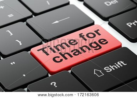 Timeline concept: computer keyboard with word Time For Change, selected focus on enter button background, 3D rendering