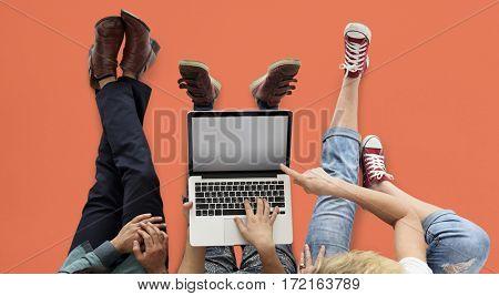Adult People Use Tablet Mobile Phone Studio
