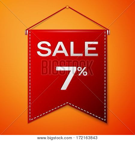 Red pennant with inscription sale seven percent Discounts over a orange background. Sale concept for shops store market, web and other commerce. Vector illustration.