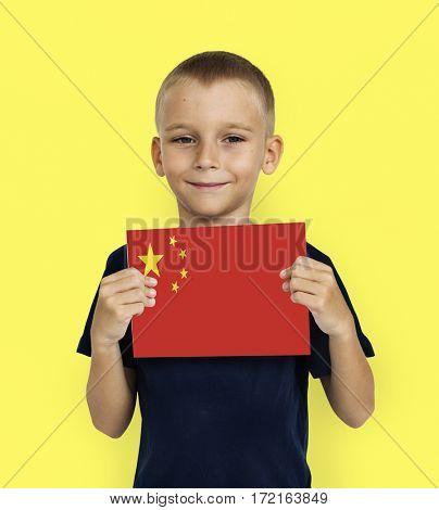 Boy Hands Hold China Flag Patriotism