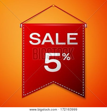 Red pennant with inscription sale five percent Discounts over a orange background. Sale concept for shops store market, web and other commerce. Vector illustration.