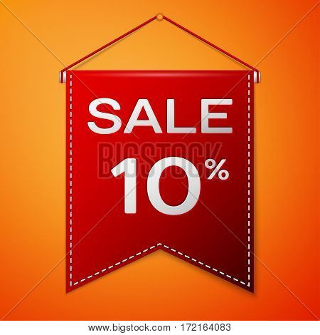 Red pennant with inscription sale ten percent Discounts over a orange background. Sale concept for shops store market, web and other commerce. Vector illustration.