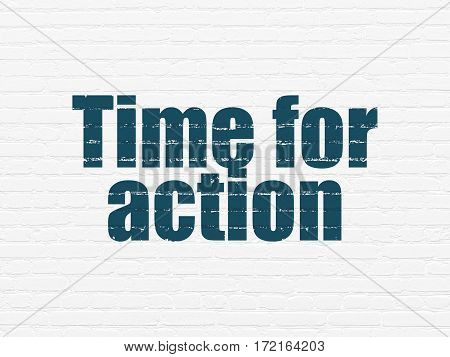 Timeline concept: Painted blue text Time for Action on White Brick wall background