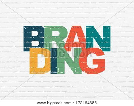 Advertising concept: Painted multicolor text Branding on White Brick wall background