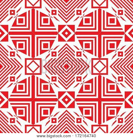 Seamless traditional geometric pattern. red and white. Vector illustration.