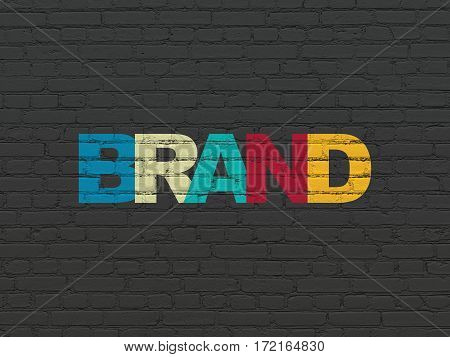 Advertising concept: Painted multicolor text Brand on Black Brick wall background