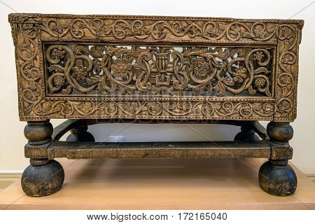Old wooden Russian table of 17th century with beautiful carving decorating it