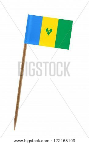 Tooth pick wit a small paper flag of St. Vincent