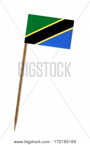 Tooth pick wit a small paper flag of Tanzania