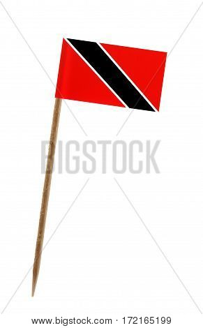 Tooth pick wit a small paper flag of Trinidad and Tobago