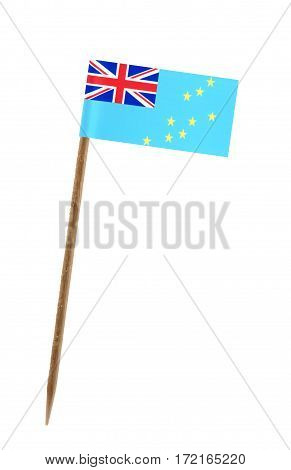 Tooth pick wit a small paper flag of Tuvalu