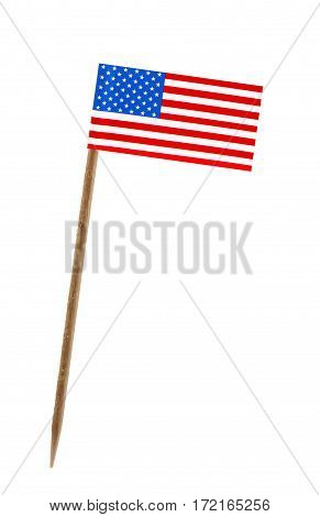 Tooth pick wit a small paper flag of United States of America US