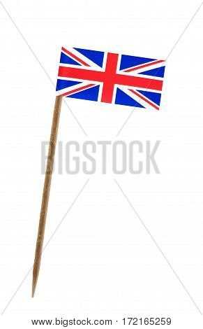 Tooth pick wit a small paper flag of United Kingdom England