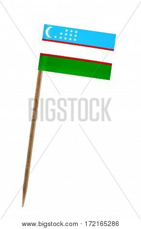 Tooth pick wit a small paper flag of Uzbekistan