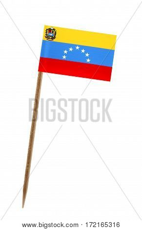 Tooth pick wit a small paper flag of Venezuela