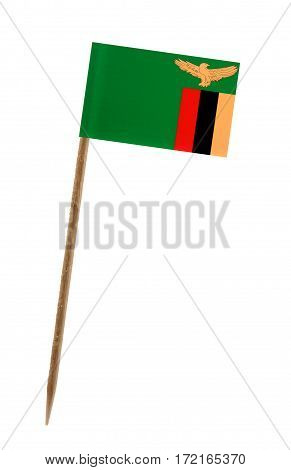 Tooth pick wit a small paper flag of Zambia