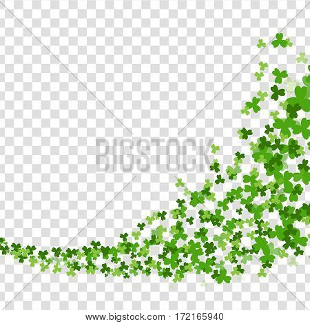 Vortex swirl green clover. Greeting happy St. Patricks day. Green clover random falling on transparent background. Vector illustration. Irish sign and symbol of luck.