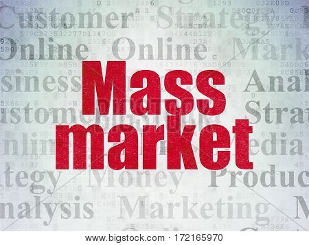 Advertising concept: Painted red text Mass Market on Digital Data Paper background with   Tag Cloud