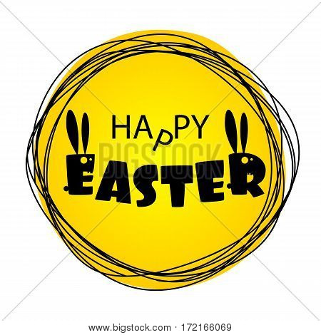 Lettering Easter. Greeting Happy Easter from ugly monsters funny rabbits. Silhouette of Bunny with long ears. Funny party invitation. Congratulations. Yellow vector illustration.