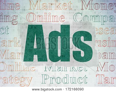 Marketing concept: Painted green text Ads on Digital Data Paper background with   Tag Cloud