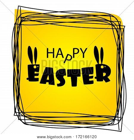 Silhouette of Bunny with long ears. Greeting Happy Easter from ugly monsters funny rabbits. Lettering Easter.  Funny party invitation. Congratulations. Yellow vector illustration.
