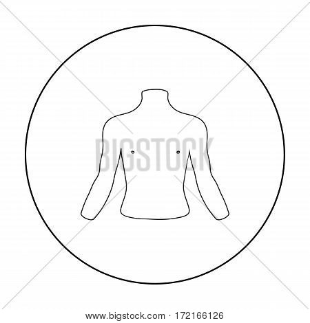 Chest icon in outline style isolated on white background. Part of body symbol vector illustration.