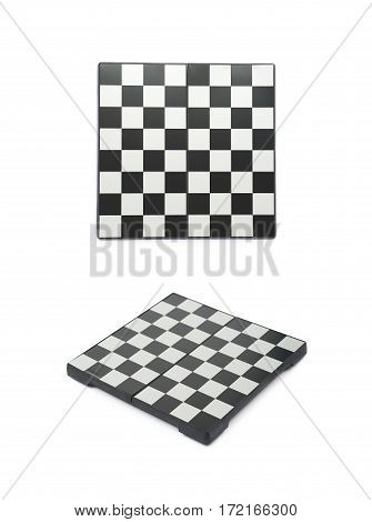 Empty chess board isolated over the white background, set of two different foreshortenings