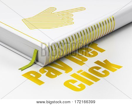 Marketing concept: closed book with Gold Mouse Cursor icon and text Pay Per Click on floor, white background, 3D rendering