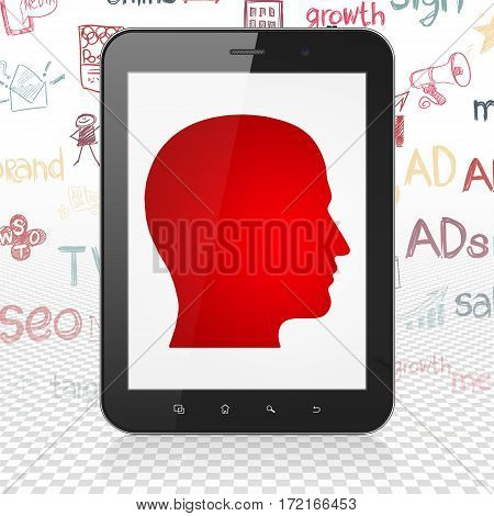 Advertising concept: Tablet Computer with  red Head icon on display,  Hand Drawn Marketing Icons background, 3D rendering