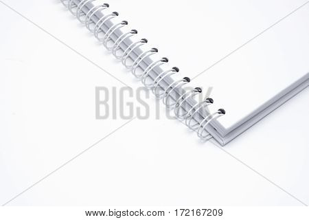 White leather notebook isolated on white background