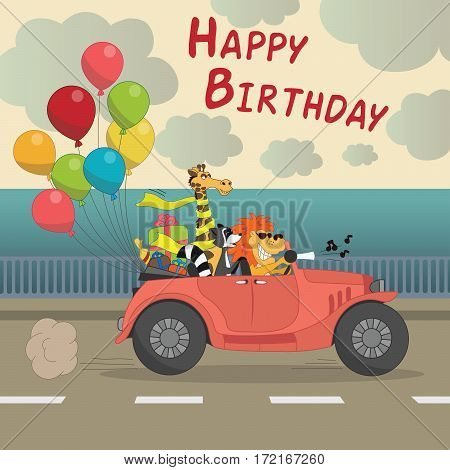 Cute Happy birthday greeting card for child fun cartoon style There are birthday gifts funny animals in the car cabriolet with balloons Vector Illustration