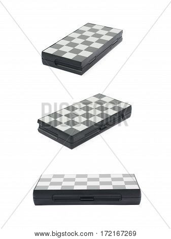 Folded chess board isolated over the white background, set of three different foreshortenings