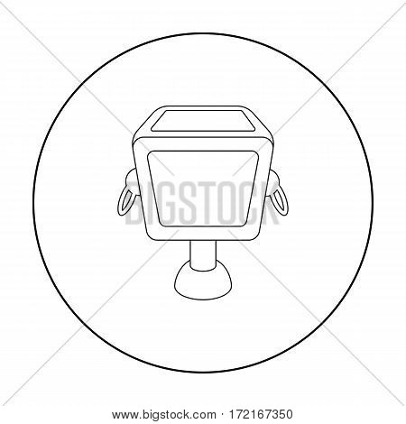 Garbage can icon in outline style isolated on white background. Park symbol vector illustration.