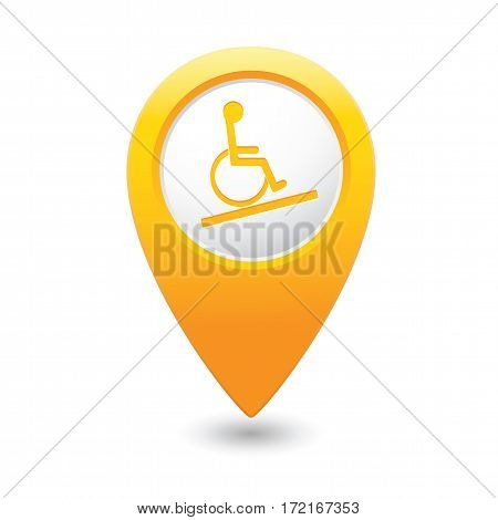 Map pointer with handicap icon. Vector illustration