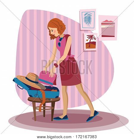 Young happy woman packing her clothes in an opened suitcase. Smiling caucasian woman putting a towel into a suitcase. Woman preparing for vacation. Vector flat design illustration. Travel