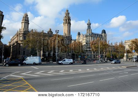 Barcelona Spain - December 3 2016: Street in Barcelona city Spain. Unidentified people visible.