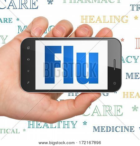 Healthcare concept: Hand Holding Smartphone with  blue text Flu on display,  Tag Cloud background, 3D rendering